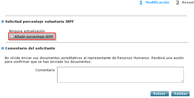 Añadir porcentaje IRPF