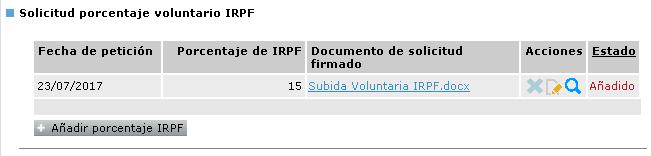 Solicitud subida porcentaje IRPF